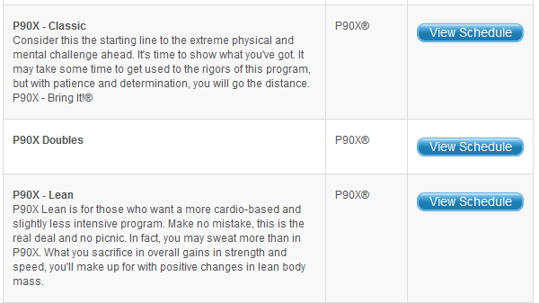 P90X workout schedules